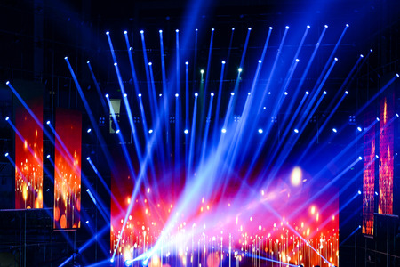 concert background: Stage Spotlight with Laser rays