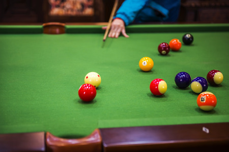 billiards halls: Close up to a snooker game Stock Photo