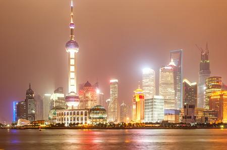 huangpu: Lujiazui financial center aside the Huangpu River Shanghai Stock Photo