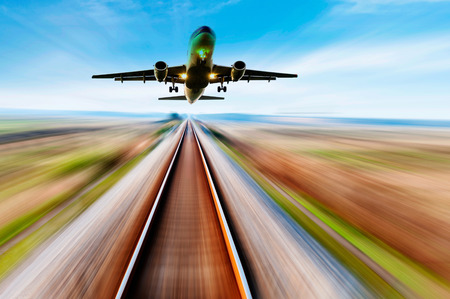 complicated journey: The way forward railway,the airplane fly away Stock Photo