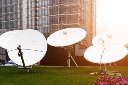 antenna: Satellite antenna dusk background Stock Photo