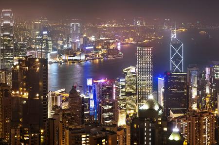 Hong Kong night view, Hong Kong Island business district.