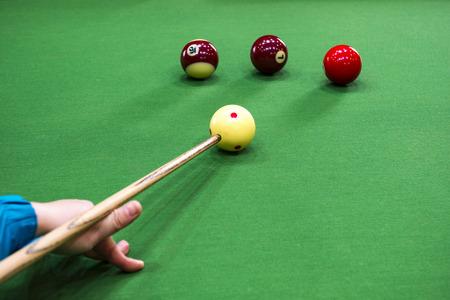 billiard: Carom billiards straight single shot Stock Photo