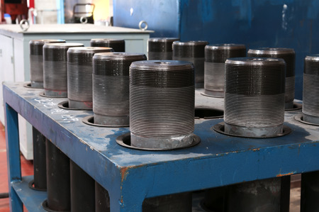 cutoff blade: Multiple sets of mechanical circular grinding slice Stock Photo