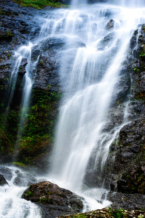 Mountain waterfall with long exposure