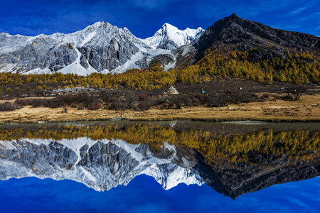 Yading national reserve in Daocheng County, in the southwest of Sichuan Province, China.