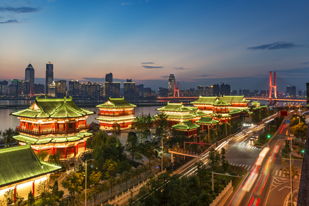 poetic: tengwang pavilion , one of Chinese famous ancient building in Nanchang,Jiangxi,China