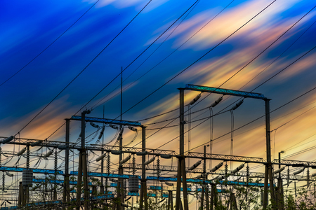 High Voltage electric substation with transformers