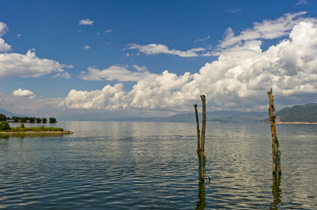 Panorama scenery of Erhai lake and mountain with blue clear sky in Dali, Yunnan province, China.
