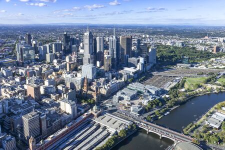 Aerial view of Melbourne city skyline 스톡 콘텐츠