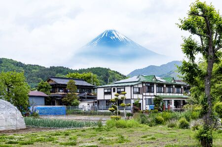 traditional Japanese architecture under the Mt Fuji view