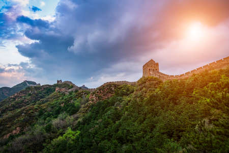 Great Wall of China at the jinshanling section, sunset natural landscape