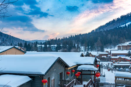 the snowscape of the Chinese characteristic farmhouse
