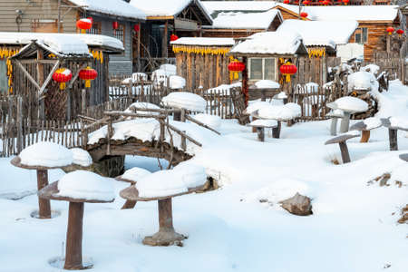 snowscape of the Chinese characteristic farmhouse