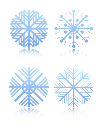 rime: Four  snowflakes for application in registration to Christmas