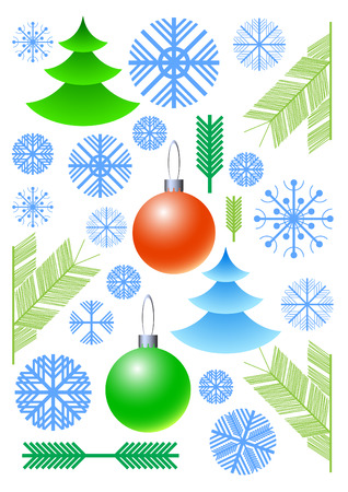 rime: Set of elements for application in registration to Christmas Illustration
