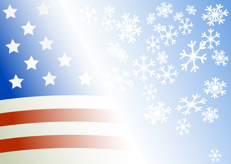 Flag of the USA on a blue background with snowflakes Vector