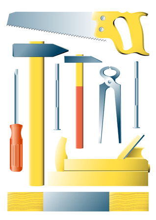 steel workers: images silhouettes of several kinds of tools Illustration