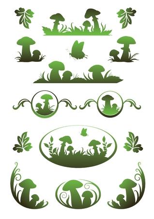 paddenstoel: Vignet met champignons voor toepassing in het boek tekening en registratie
