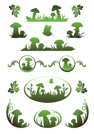 Vignette with mushrooms for application in the book drawing and registration Stock Vector - 8920812