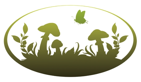 fungi: Vignette with mushrooms for application in the book drawing and registration
