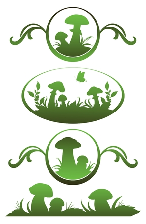Vignette with mushrooms for application in the book drawing and registration Vector