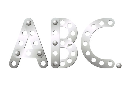 Metal letters of their details of the childrens designer Vector