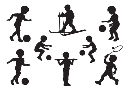 football party: Silhouettes of children engaged in sports exercises