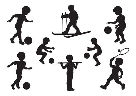 ni�os jugando en la escuela: Siluetas de ni�os participan en ejercicios de deportes Vectores