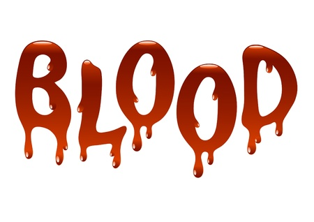 Inscription blood for an illustration at registration a web of sites and polygraphy
