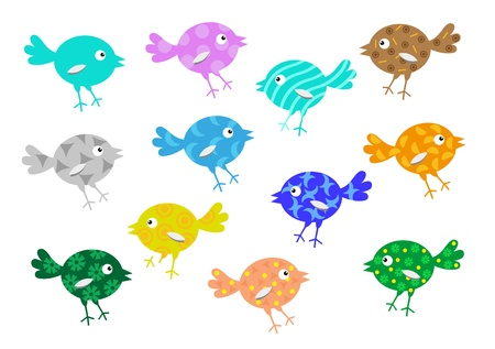 perching: Cheerful birdies for illustrations in childrens books and magazines Illustration