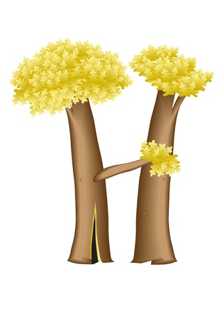 block letters: The letter H in the form of a tree for application as a capital letter on page Illustration