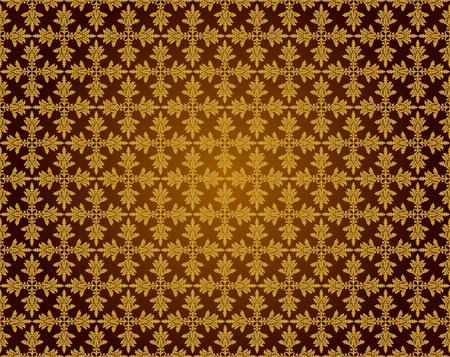 Pattern from oak leaves in a golden tonality Vector