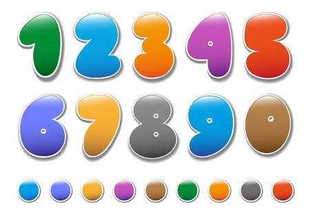 three colors: Decorative numbers for childrens magazines