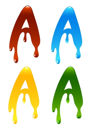 the letter in the form of a current liquid paint Vector
