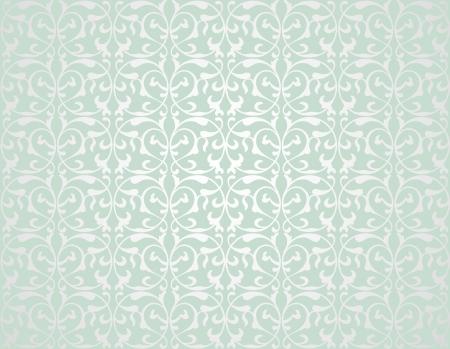 papel tapiz: Patr�n de elementos decorativos en una tonalidad gris verde Vectores
