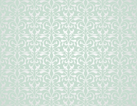 antique wallpaper: Pattern from decorative elements in a grey-green tonality