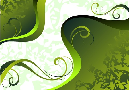 morning nature: Abstract background in a green tonality with decorative curls