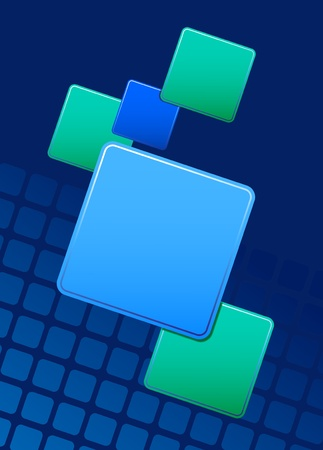 Abstract background with blue and green squares for text addition Vector