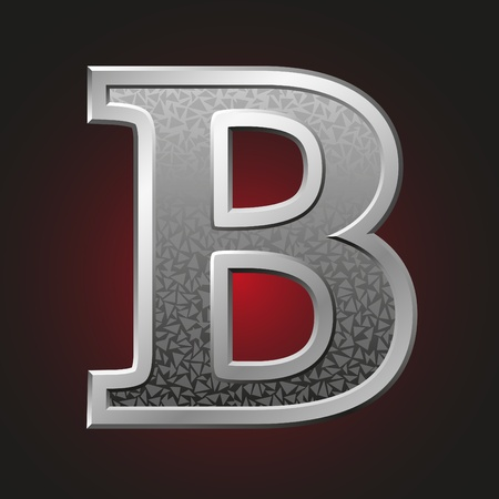 letter b: Metal letter B with a silvery fringing on a red background