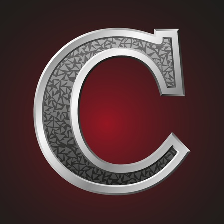 metal letter: Metal letter C with a silvery fringing on a red background Illustration