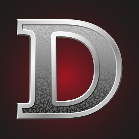 Metal letter D with a silvery fringing on a red background Vector