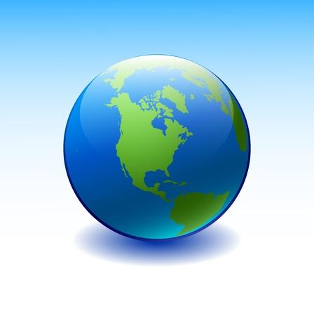 wereldbol groen: Wereldbol met het Amerikaanse continent op een blauwe achtergrond