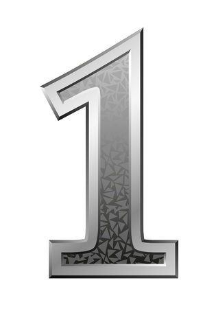 numeric character: Metal Number 1 with a silvery fringing on a red background