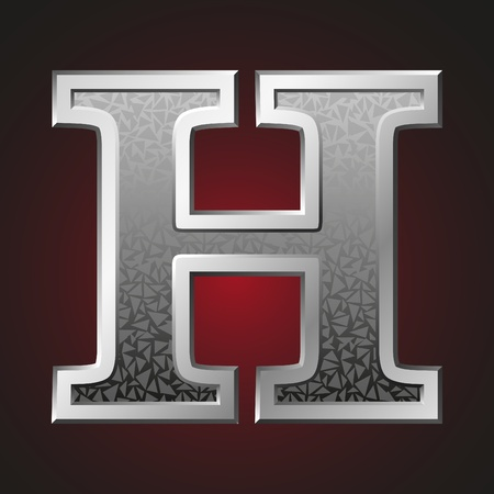 Metal letter H with a silvery fringing on a red background Vector