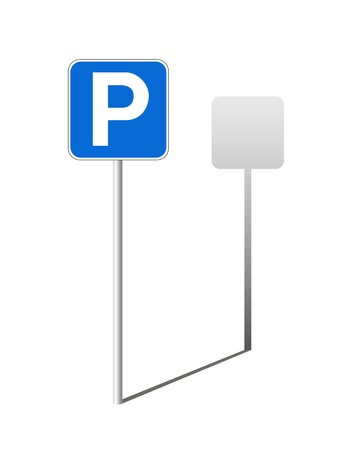 cars parking: Traffic sign of parking with a shade