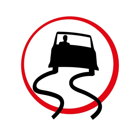 Designation of slippery road in the form of a traffic sign Vector