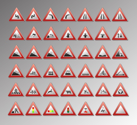 Warning traffic signs for your design Stock Vector - 9530029