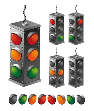 Three-position traffic light on a white background with spare lanterns Stock Vector - 9530036