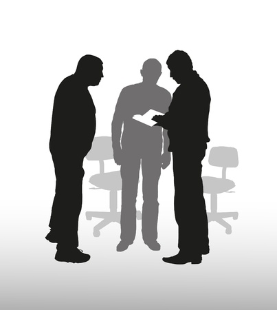 Composition business of subjects with mans silhouettes Illustration